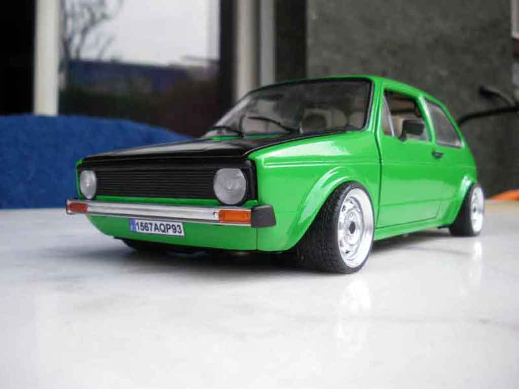 Volkswagen Golf 1 GTI emeraude tuning Solido. Volkswagen Golf 1 GTI emeraude German Look miniature 1/18