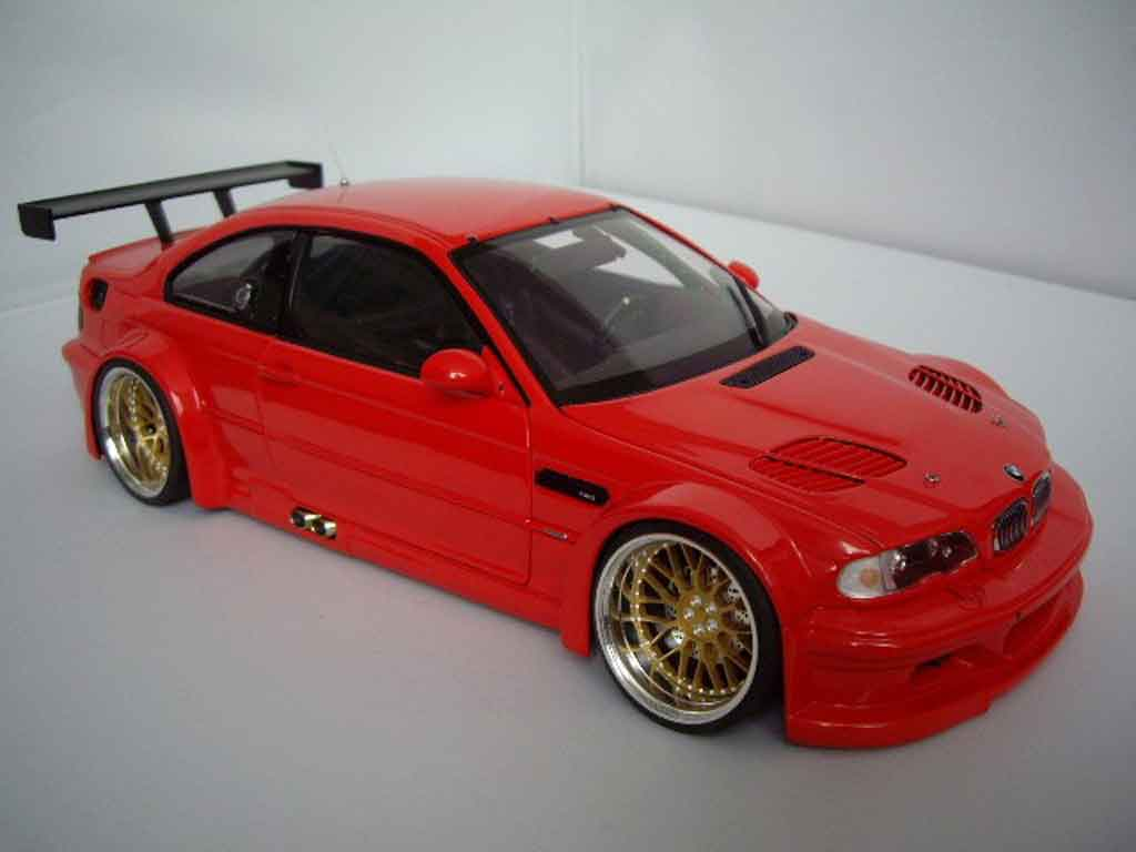 Bmw M3 E46 1/18 Minichamps GTR red jantes bbs 19 pouces tuning diecast model cars