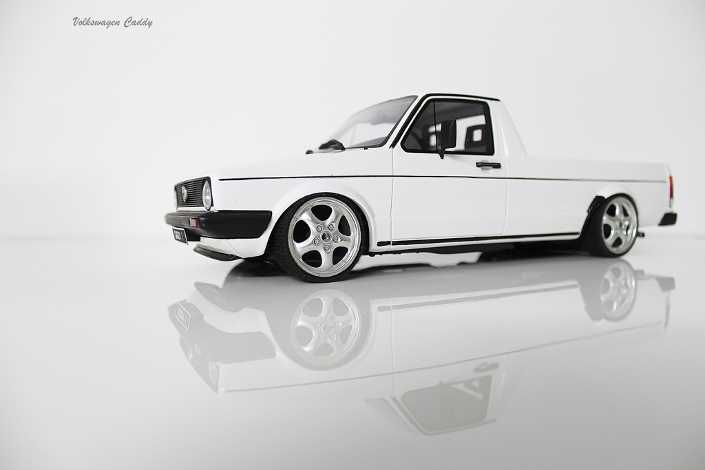 Volkswagen Caddy 1/18 Ottomobile weiss jantes porsche 17 pouces tuning modellautos