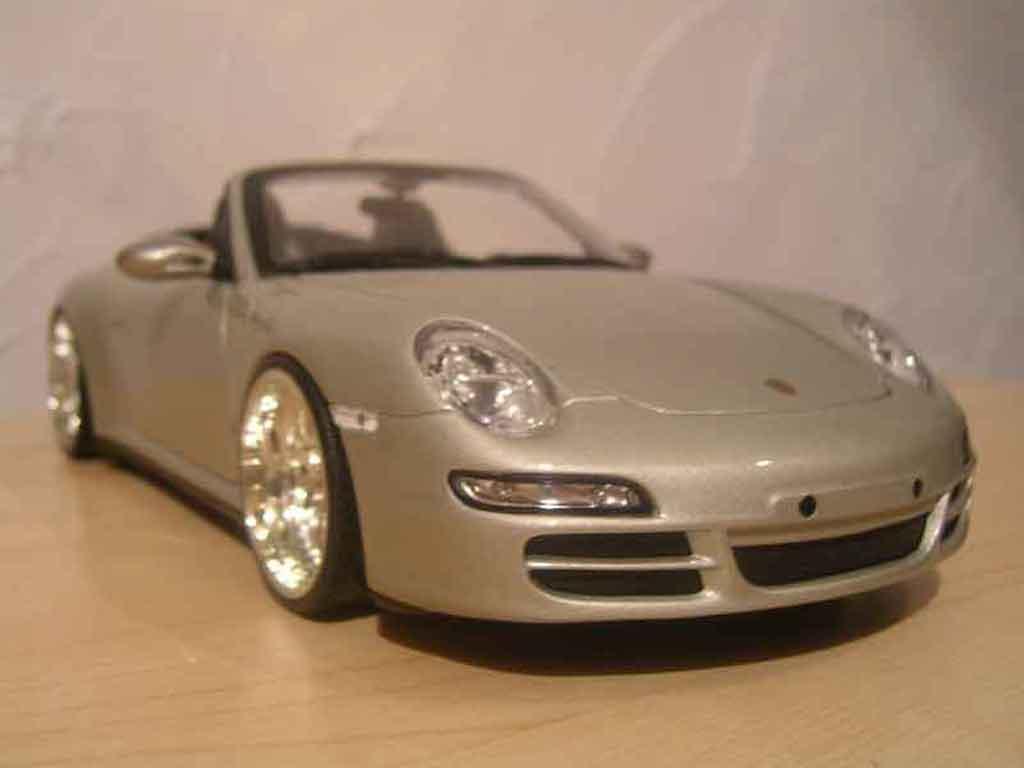 Porsche 997 Cabriolet 1/18 Norev Cabriolet S grise jantes bbs tuning miniature