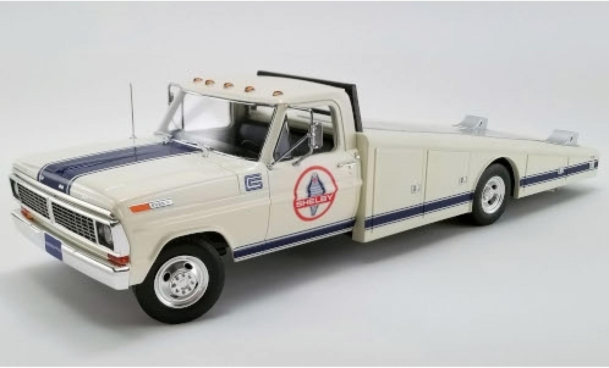 Ford F-350 1/18 ACME Ramp Truck blanche/bleue Shelby Racing 1970