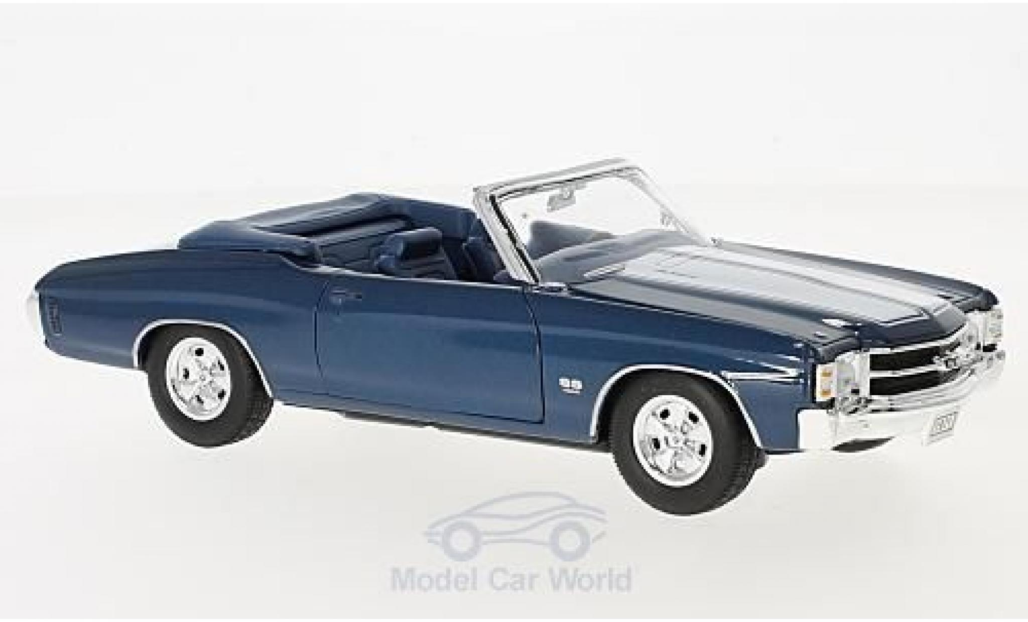 Chevrolet Chevelle 1971 1/24 American Mint/Welly SS 454 Convertible metallise azul/blanco