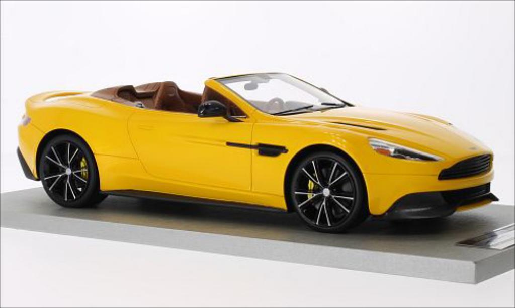 aston martin vanquish miniature volante jaune tecnomodel 1 18 voiture. Black Bedroom Furniture Sets. Home Design Ideas