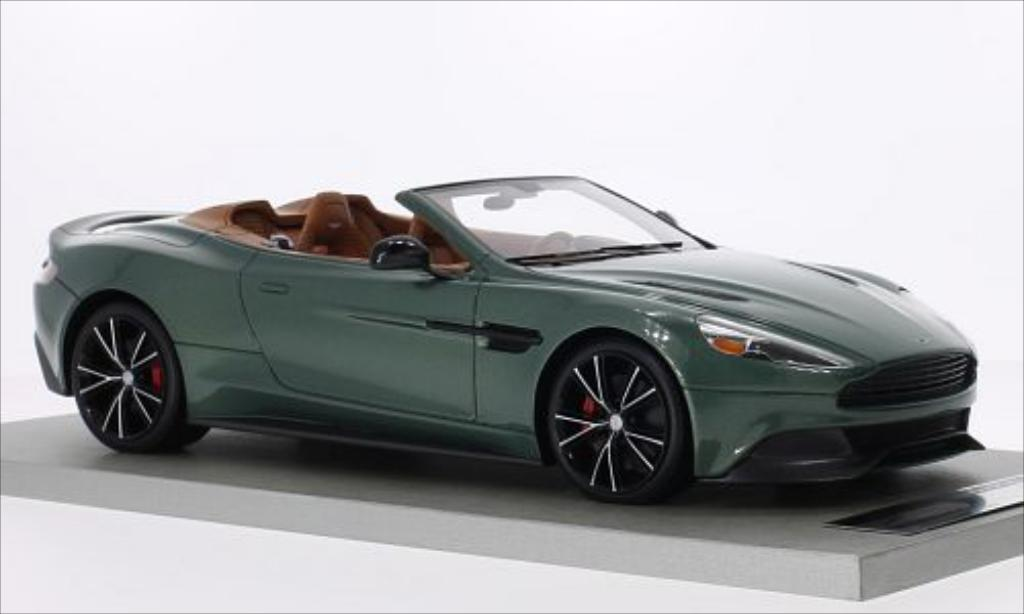 Miniature Aston Martin Vanquish Volante metallic-verte/carbon Tecnomodel. Aston Martin Vanquish Volante metallic-verte/carbon miniature 1/18