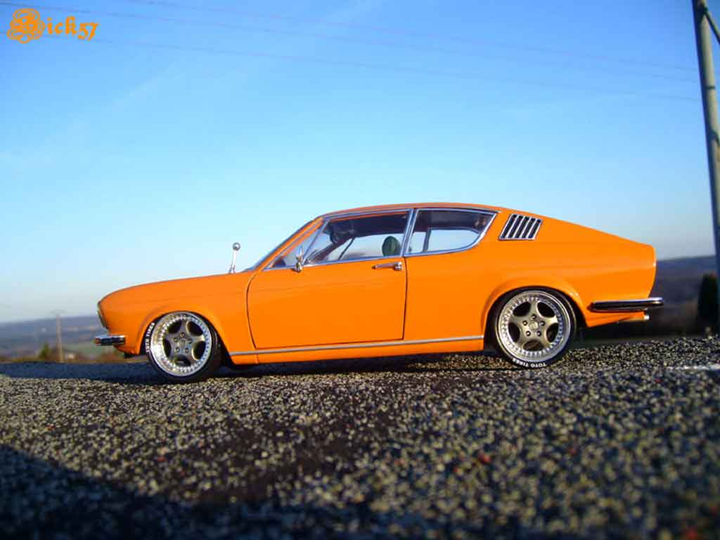 Audi 100 coupe S 1/18 Anson 1970 orange jantes porsche tuning miniature