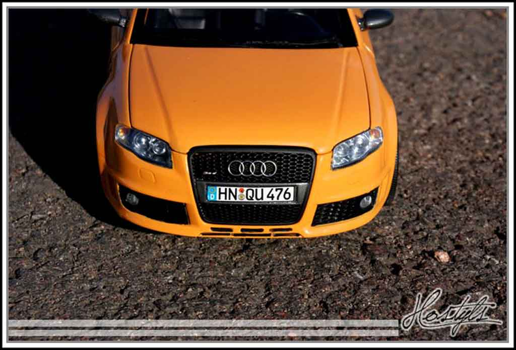 Audi RS4 avant orange papaye tuning Minichamps. Audi RS4 avant orange papaye miniature 1/18
