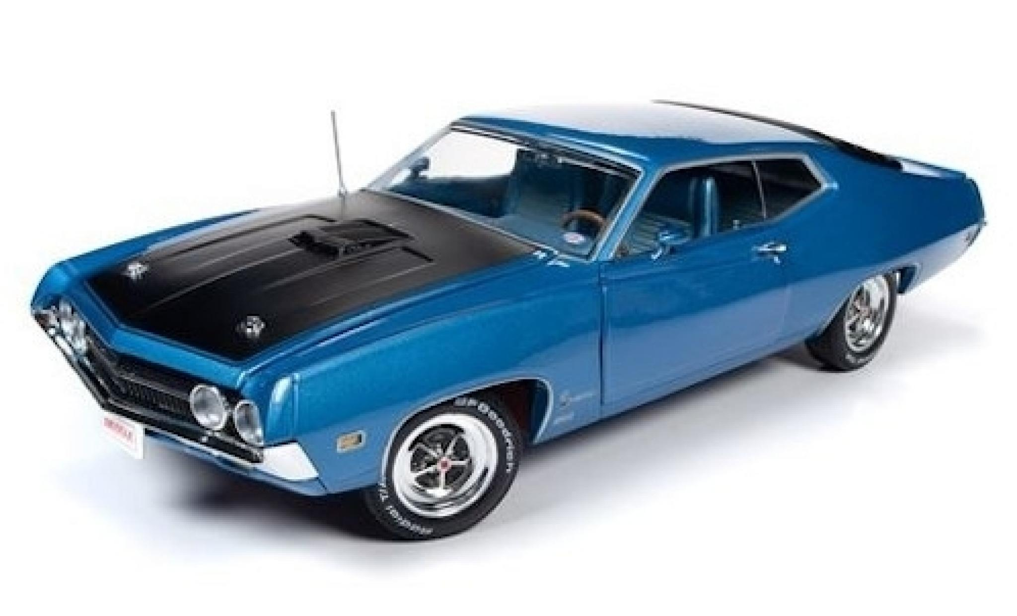 Ford Torino 1/18 Auto World Cobra metallise bleue/noire 1970