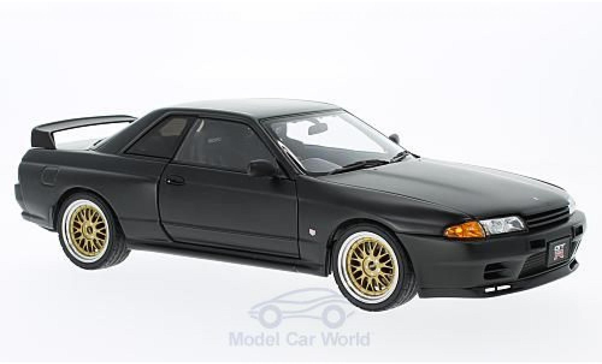 Nissan Skyline 1/18 AUTOart GT-R (R32) matt-noire RHD Tuned Version ohne Vitrine