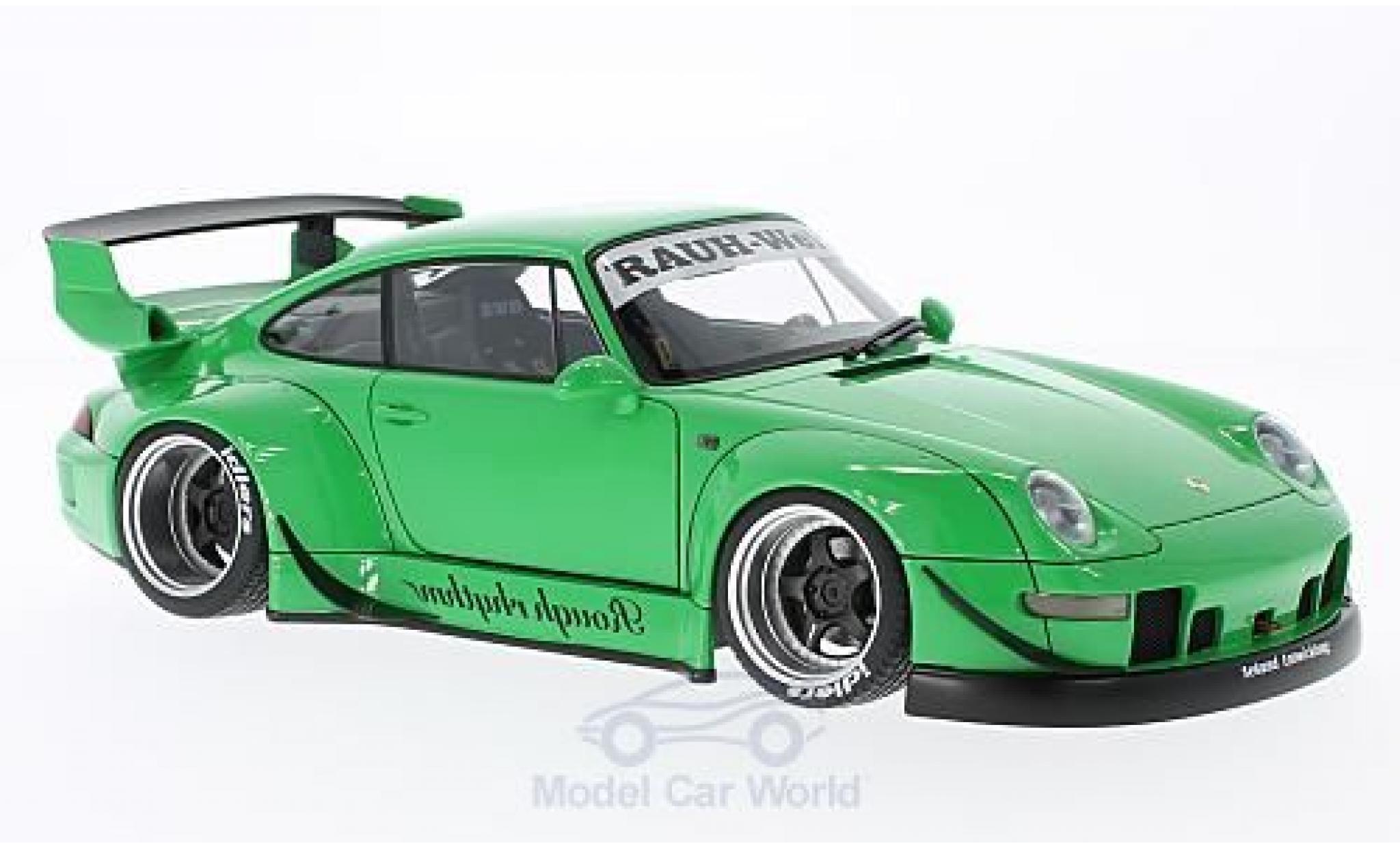 Porsche 911 1/18 AUTOart (993) RWB verte Rauh Welt grisee Felgen ohne Vitrine