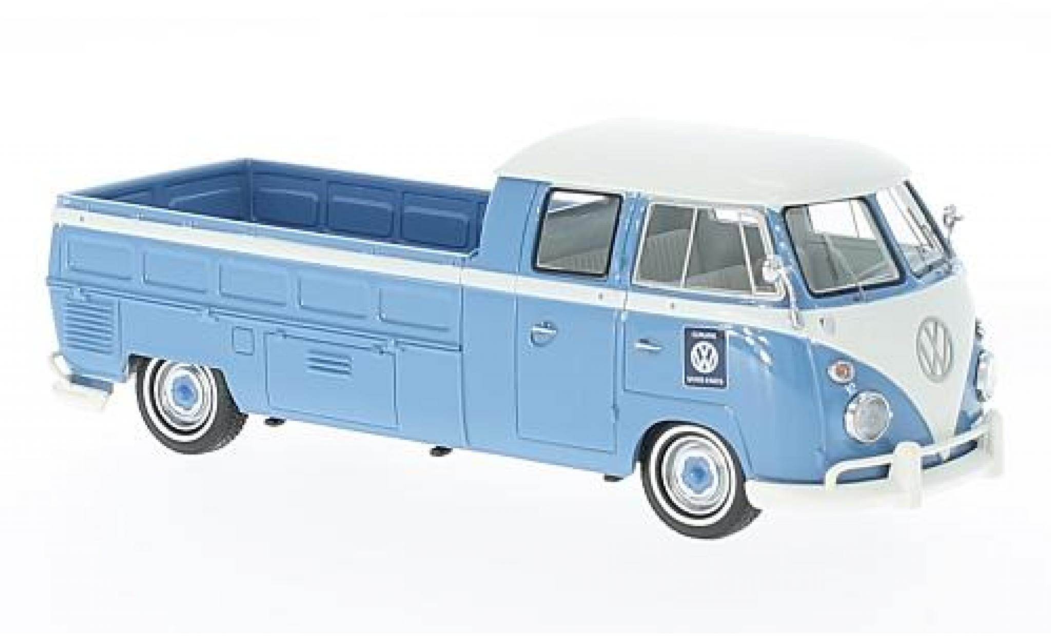 Volkswagen T1 1/43 AutoCult Doppelkabine Langpritsche blau/weiss 1963