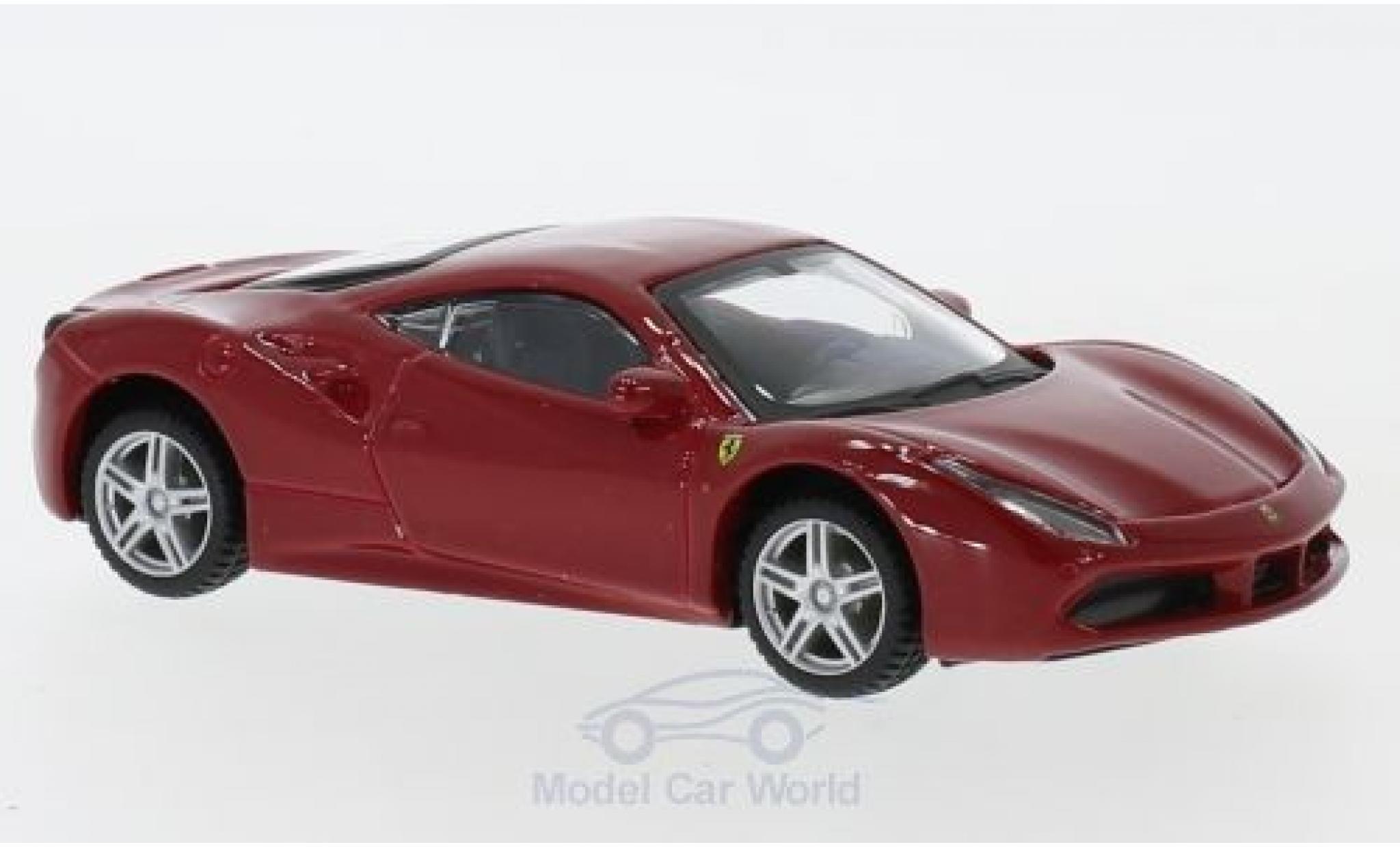 Ferrari 488 1/43 Bburago GTB rouge/blanche pull-back