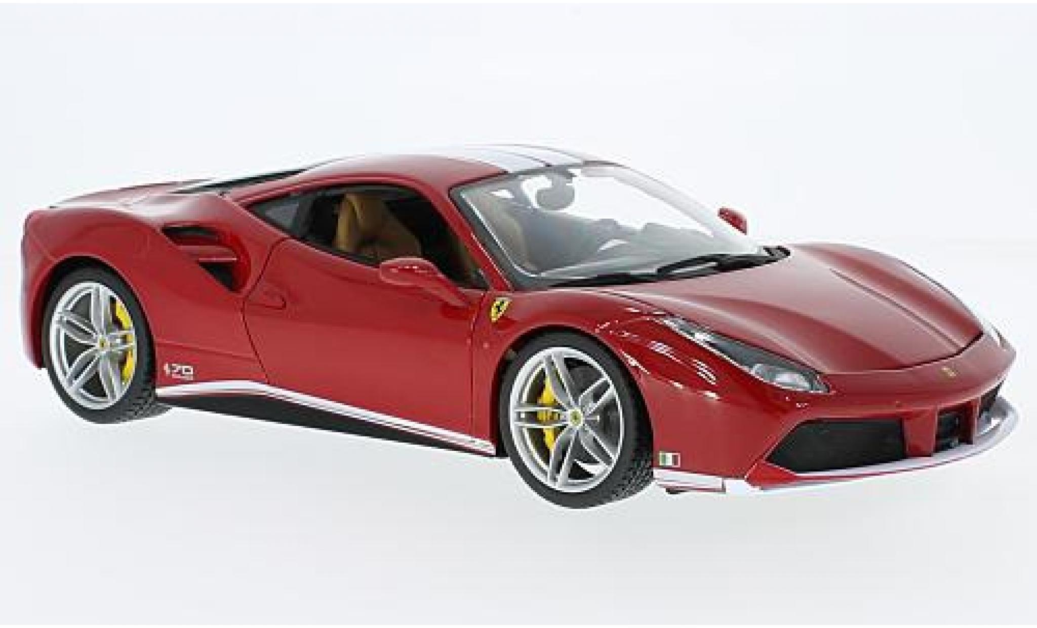 Ferrari 488 1/18 Bburago GTB rouge/blanche The Schumacher 70 années