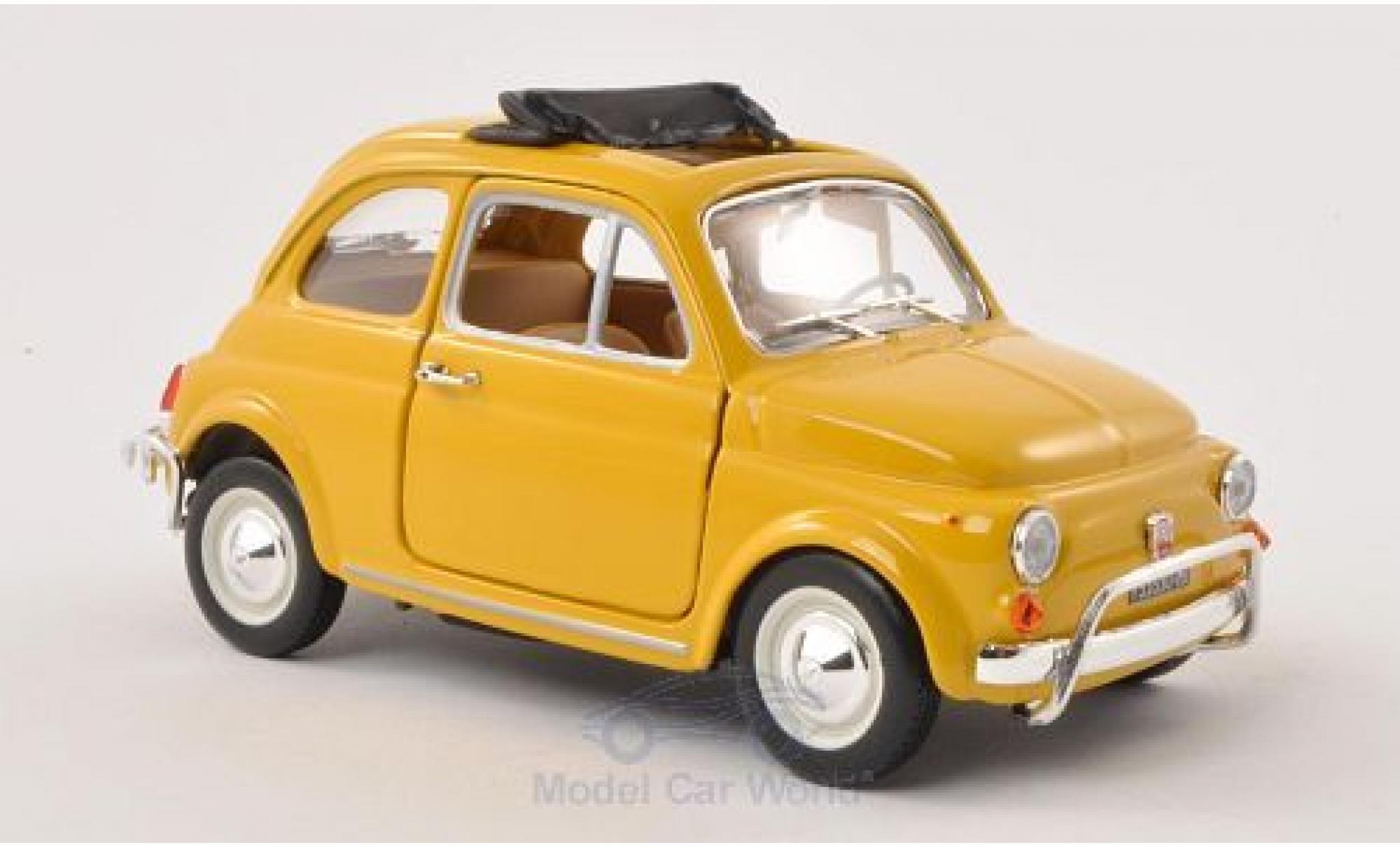 Fiat 500 1/24 Bburago L jaune 1968 geöffnetes Faltdach ohne Vitrine