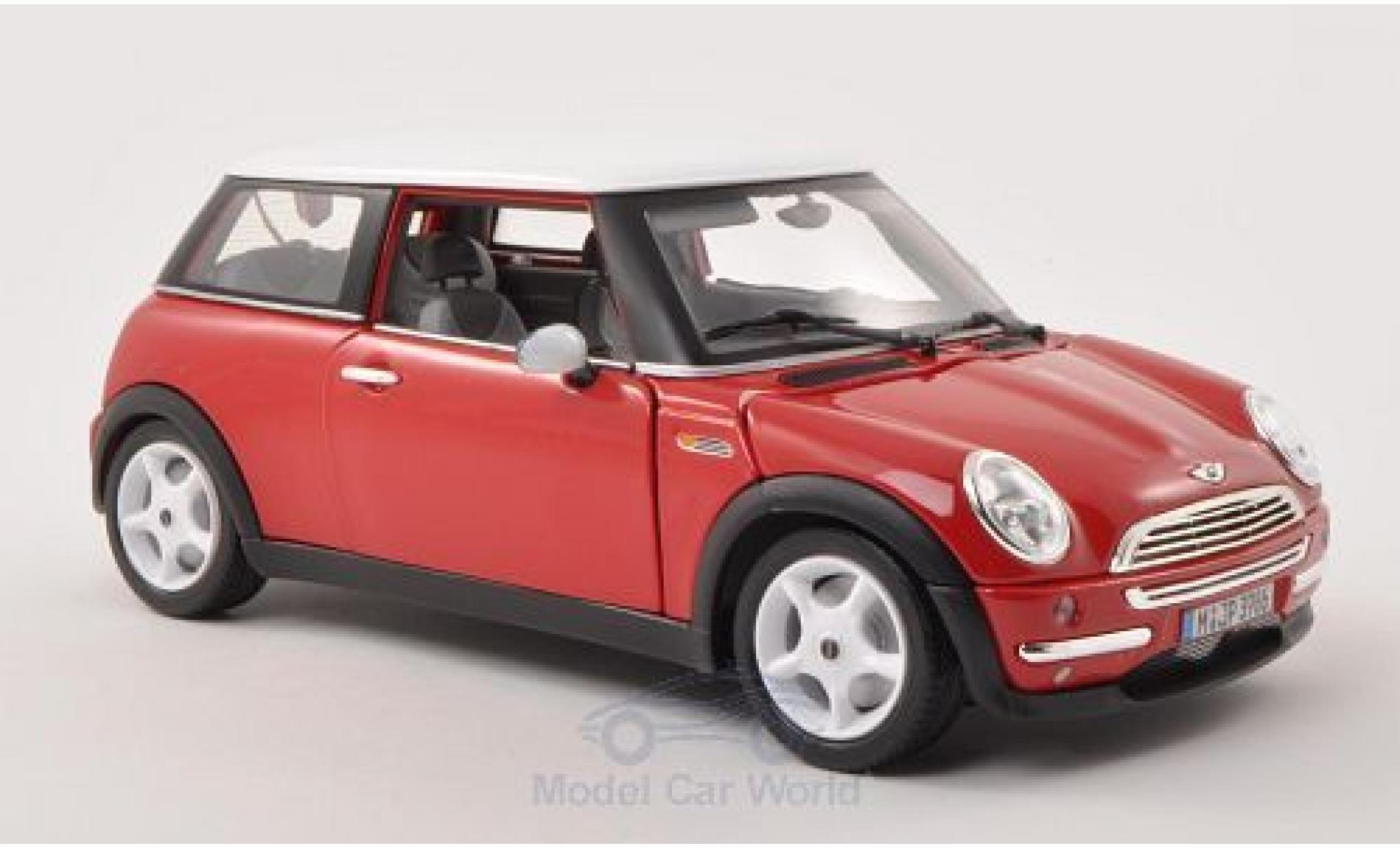 Mini Cooper S 1/18 Bburago rouge/blanche 2001