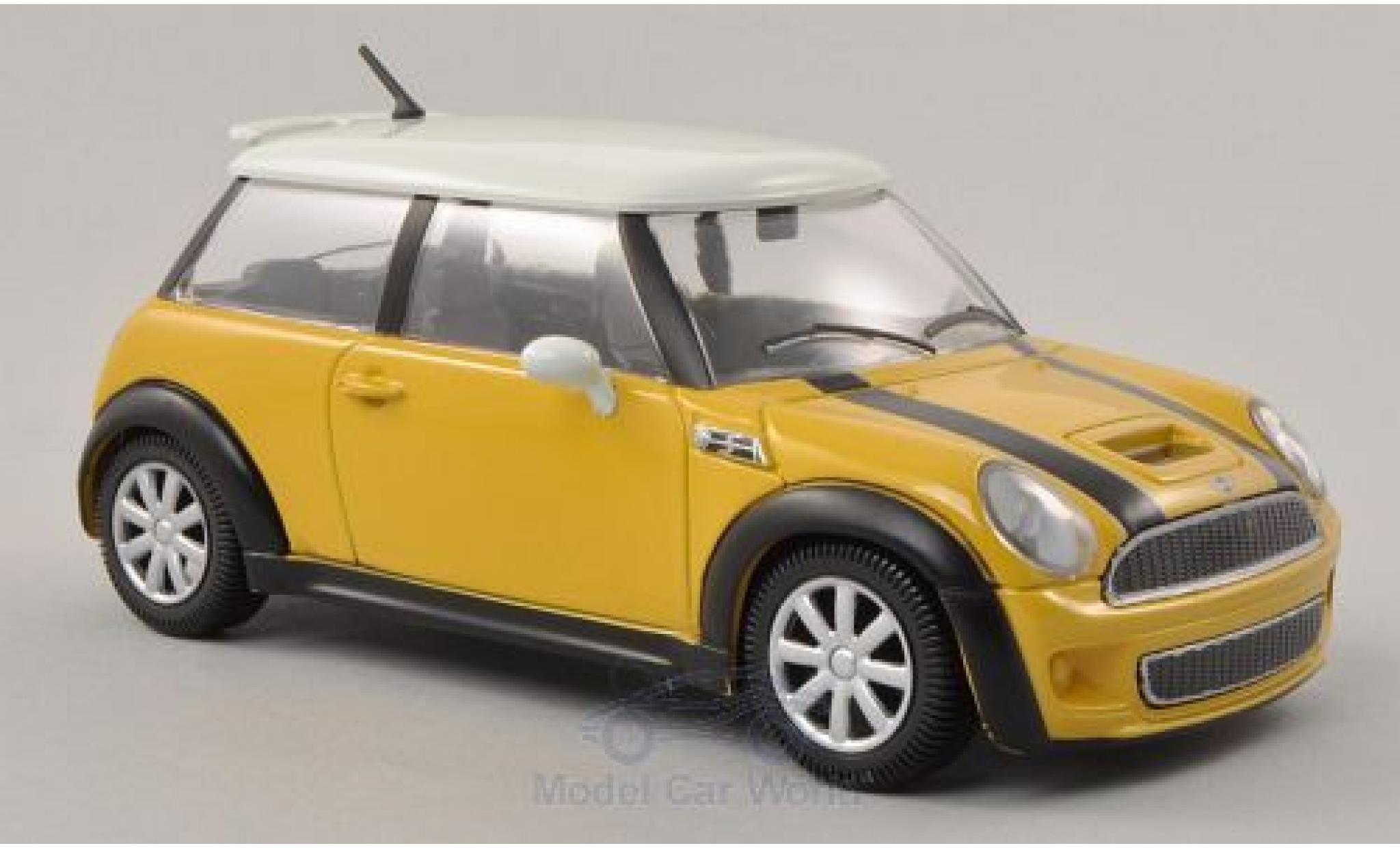 Mini Cooper 1/24 Bburago S jaune/blanche ohne Vitrine