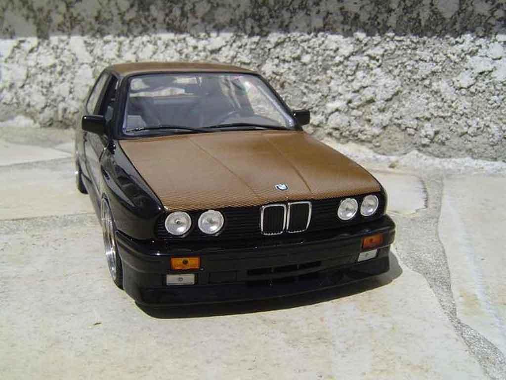 Bmw M3 E30 1/18 Minichamps black swap moteur e36 jantes bbs capot kevlar