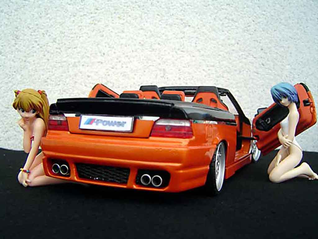 Bmw 325 E36 1/18 Maisto cabriolet jantes rh cup 18 pouces peinture biton orange noir portes papillon tuning miniature