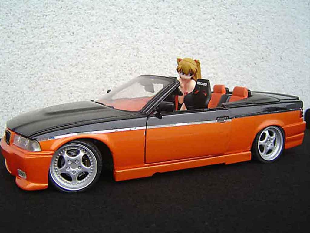 Bmw 325 E36 1/18 Maisto cabriolet jantes rh cup 18 pouces peinture biton orange noir portes papillon