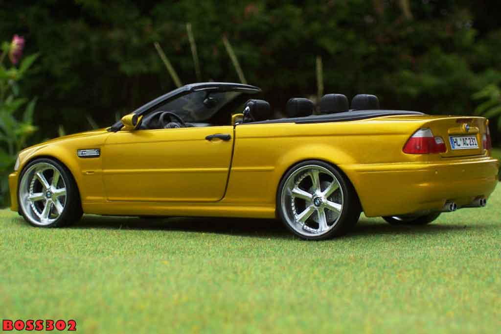 Bmw M3 E46 cabriolet 1/18 Kyosho yellow candy jantes chromees 18 pouces tuning diecast model cars