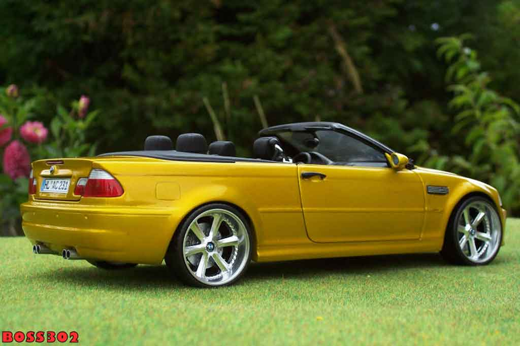Bmw M3 E46 cabriolet 1/18 Kyosho yellow candy jantes chromees 18 pouces
