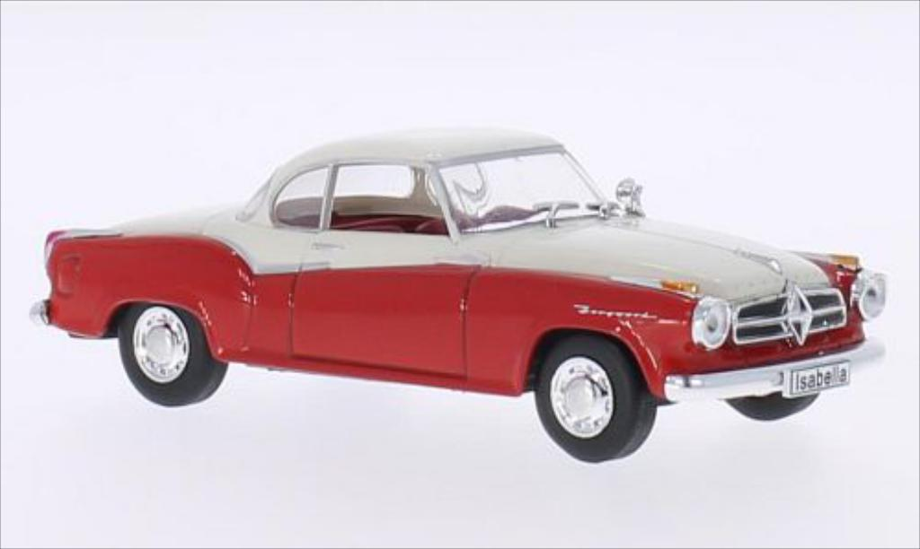 Borgward Isabella 1/43 WhiteBox Coupe rouge/matt-blanche 1957 miniature