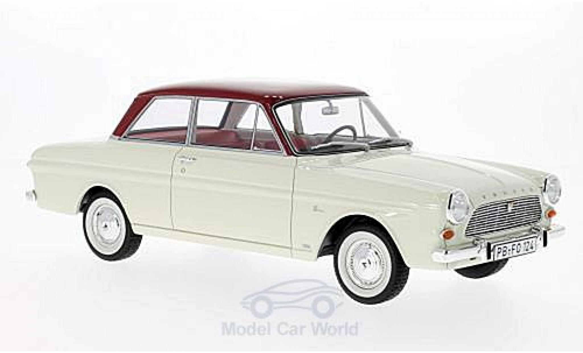 Ford Taunus 1/18 BoS Models 12M (P4) Limousine blanche/rouge 1965