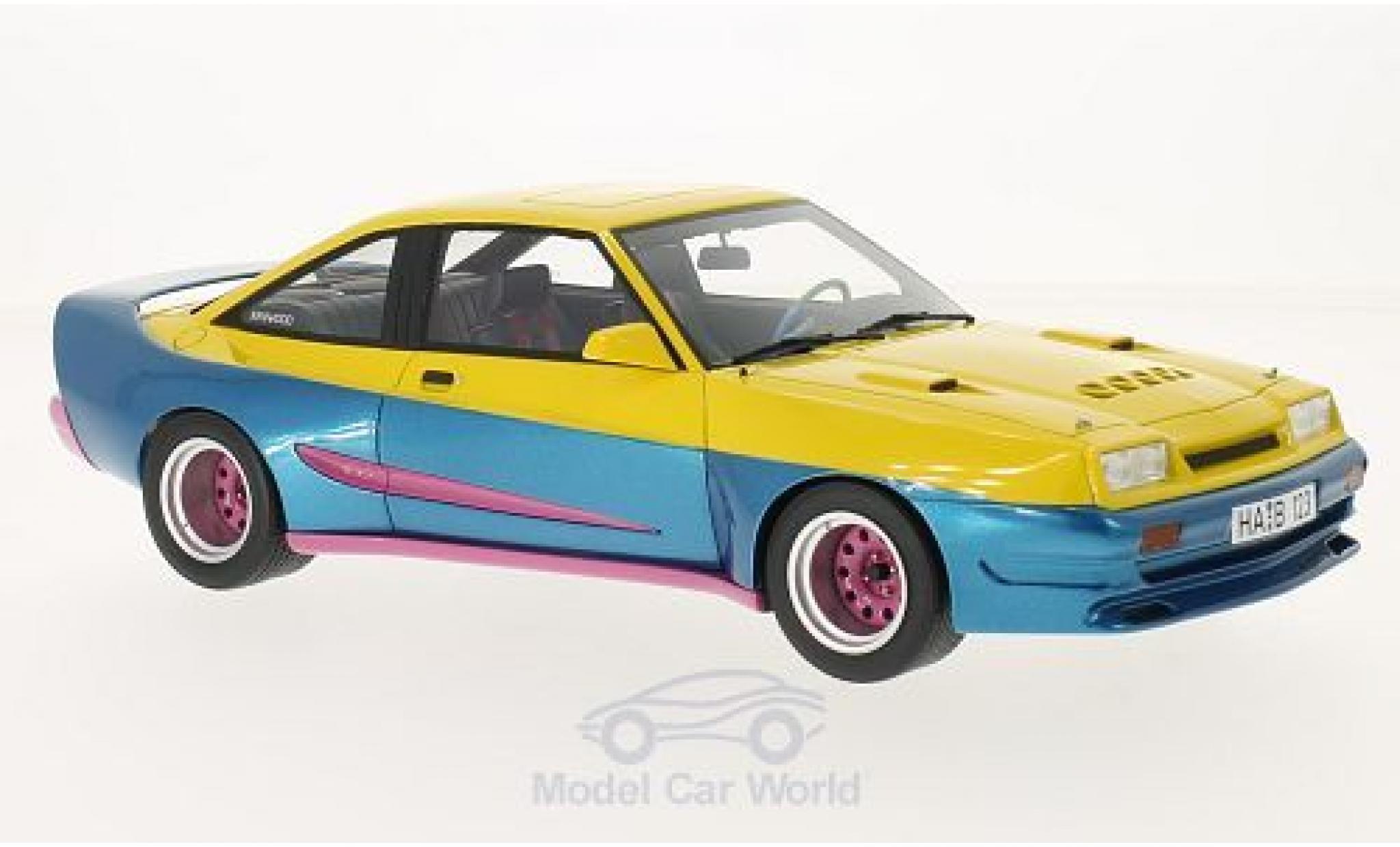 Opel Manta 1/18 BoS Models B Mattig jaune/metallise bleue 1991