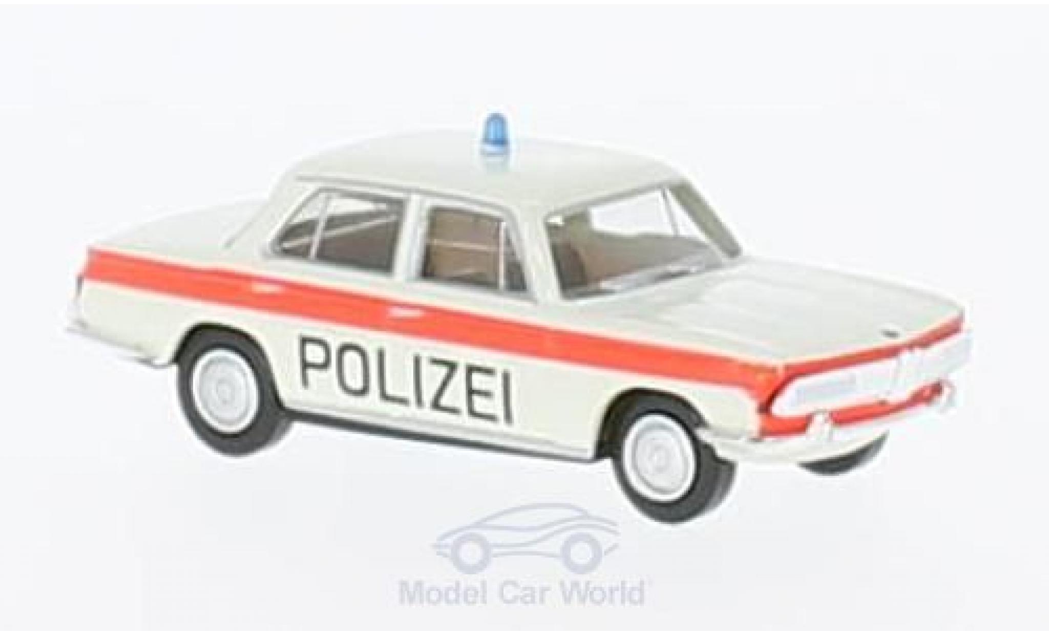 Bmw 2000 1/87 Brekina blanche/orange Polizei Solothurn