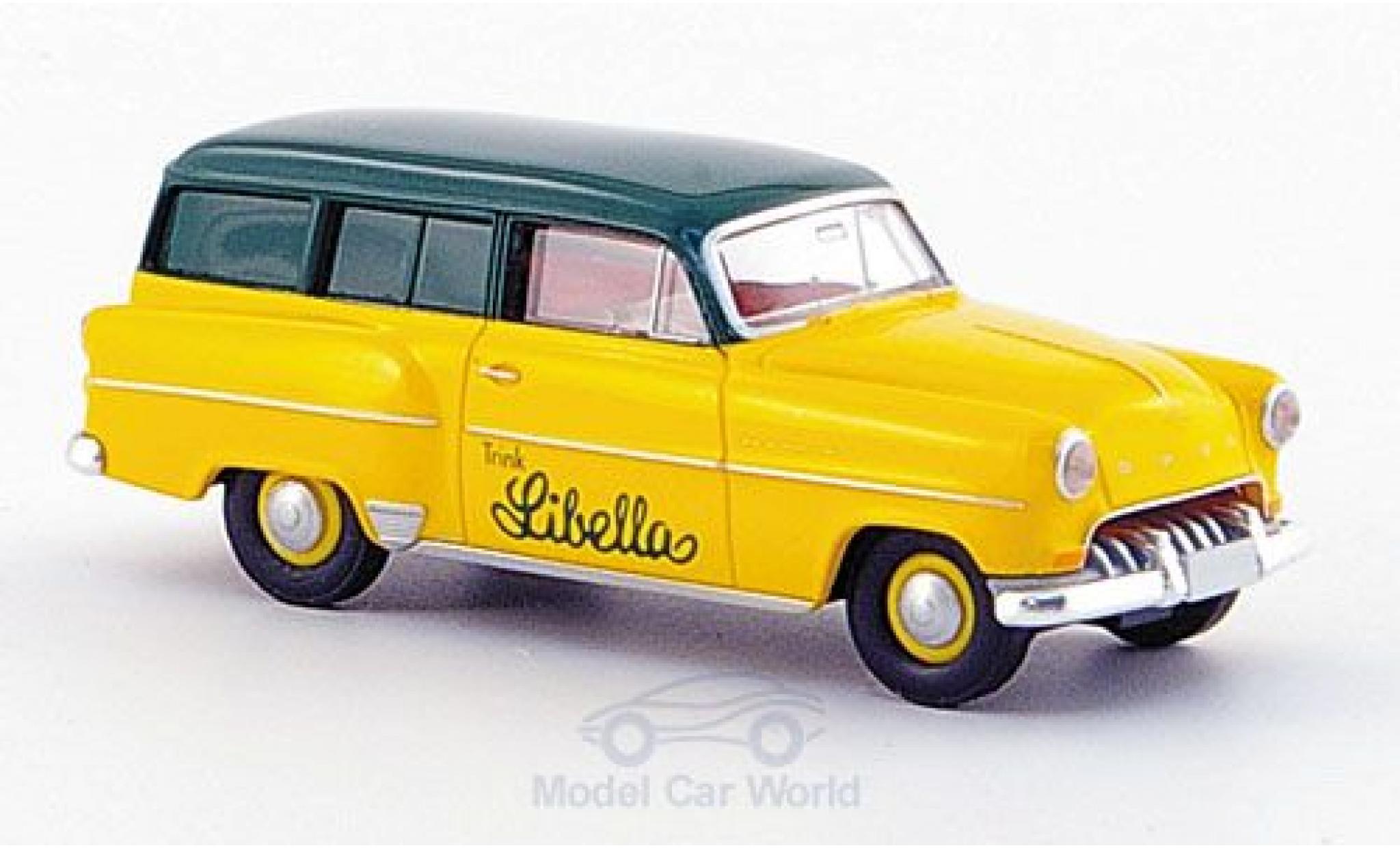 Opel Olympia 1/87 Brekina Caravan jaune/verte Libella