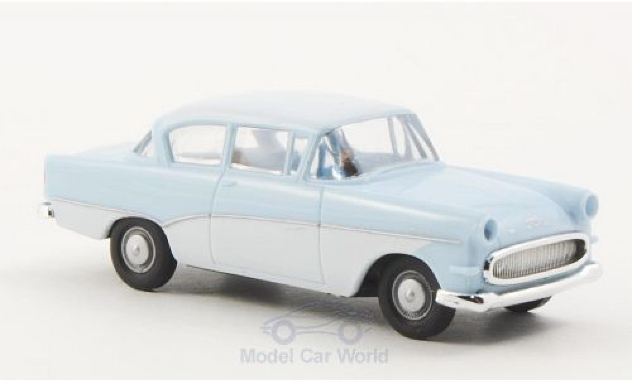Opel Rekord 1/87 Brekina P1 bleue/blanche