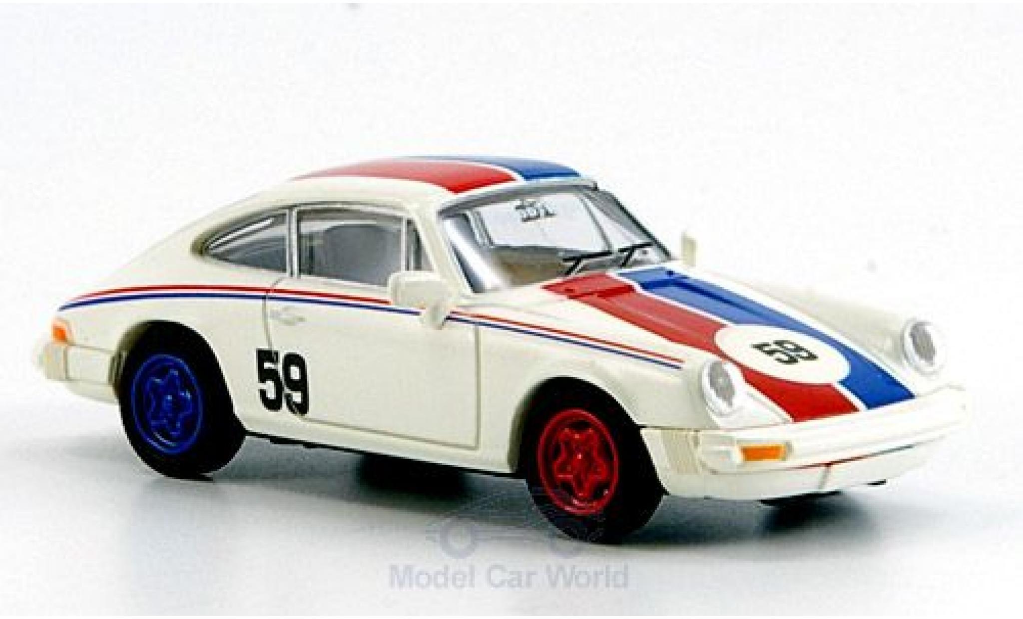 Porsche 911 1/87 Brekina blanche No.59 bleue-rougee Streifen