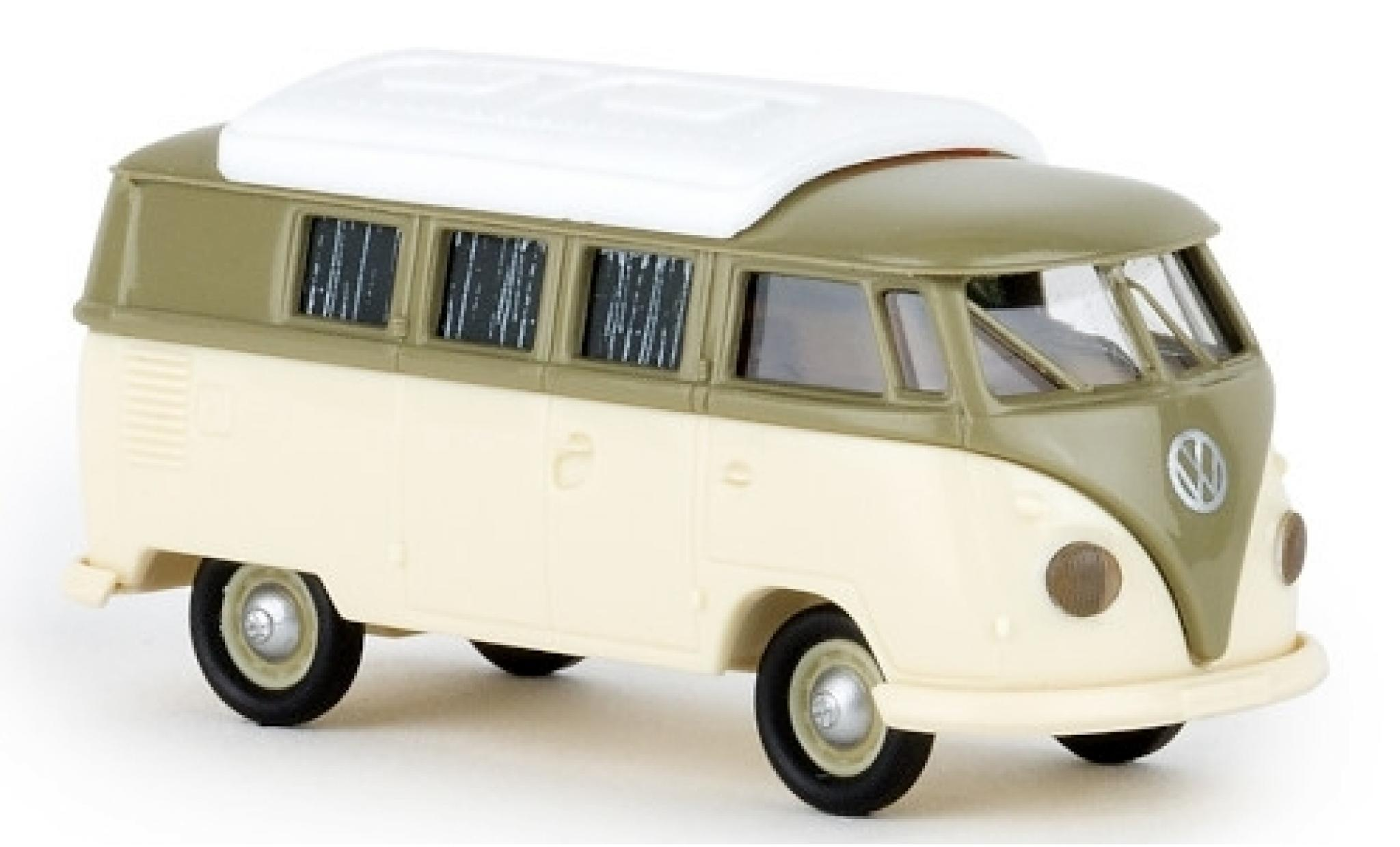 Volkswagen T1 1/87 Brekina b Camper grise/beige 1960 avec Dormobildach