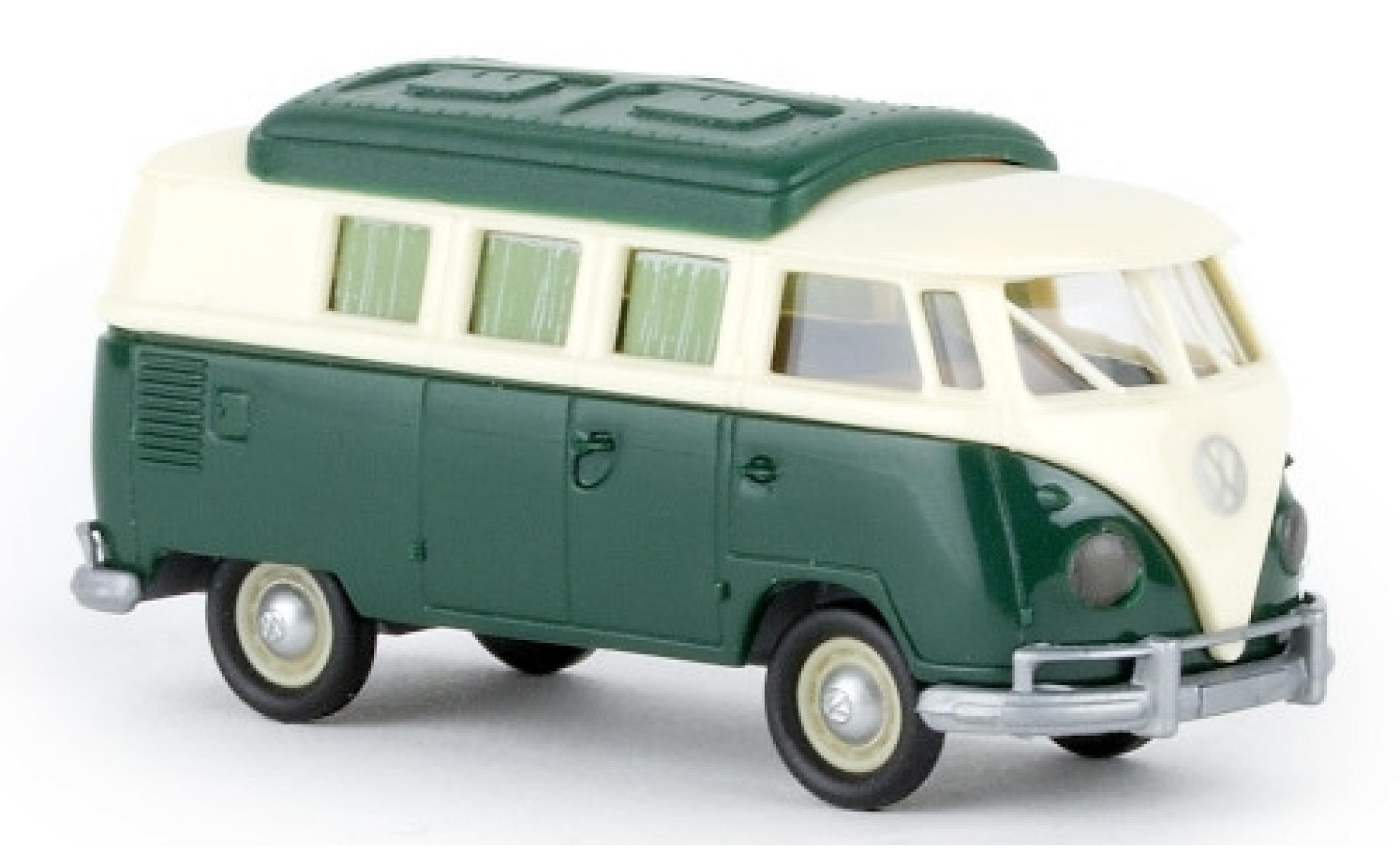 Volkswagen T1 1/87 Brekina b Camper beige/verte 1960 avec Dormobildach