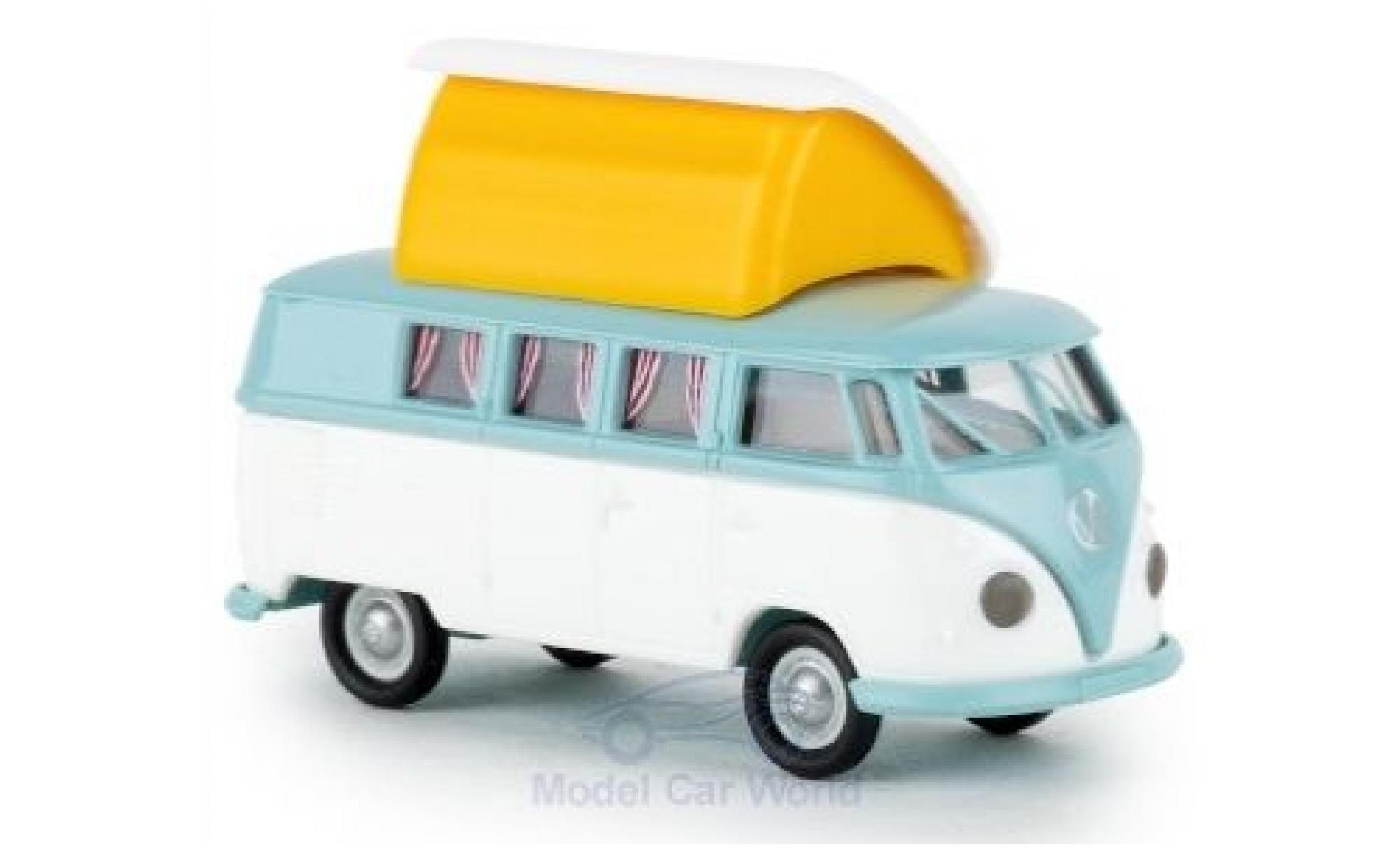 Volkswagen T1 1/87 Brekina b Camper turquoise/white mit Dormobildach offen