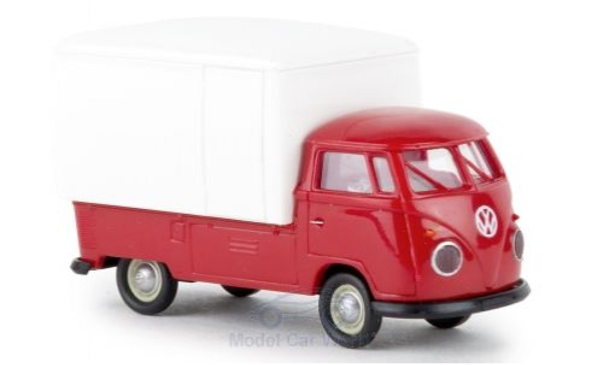 Volkswagen T1 1/87 Brekina b Großraum-Koffer rot/weiss 1960