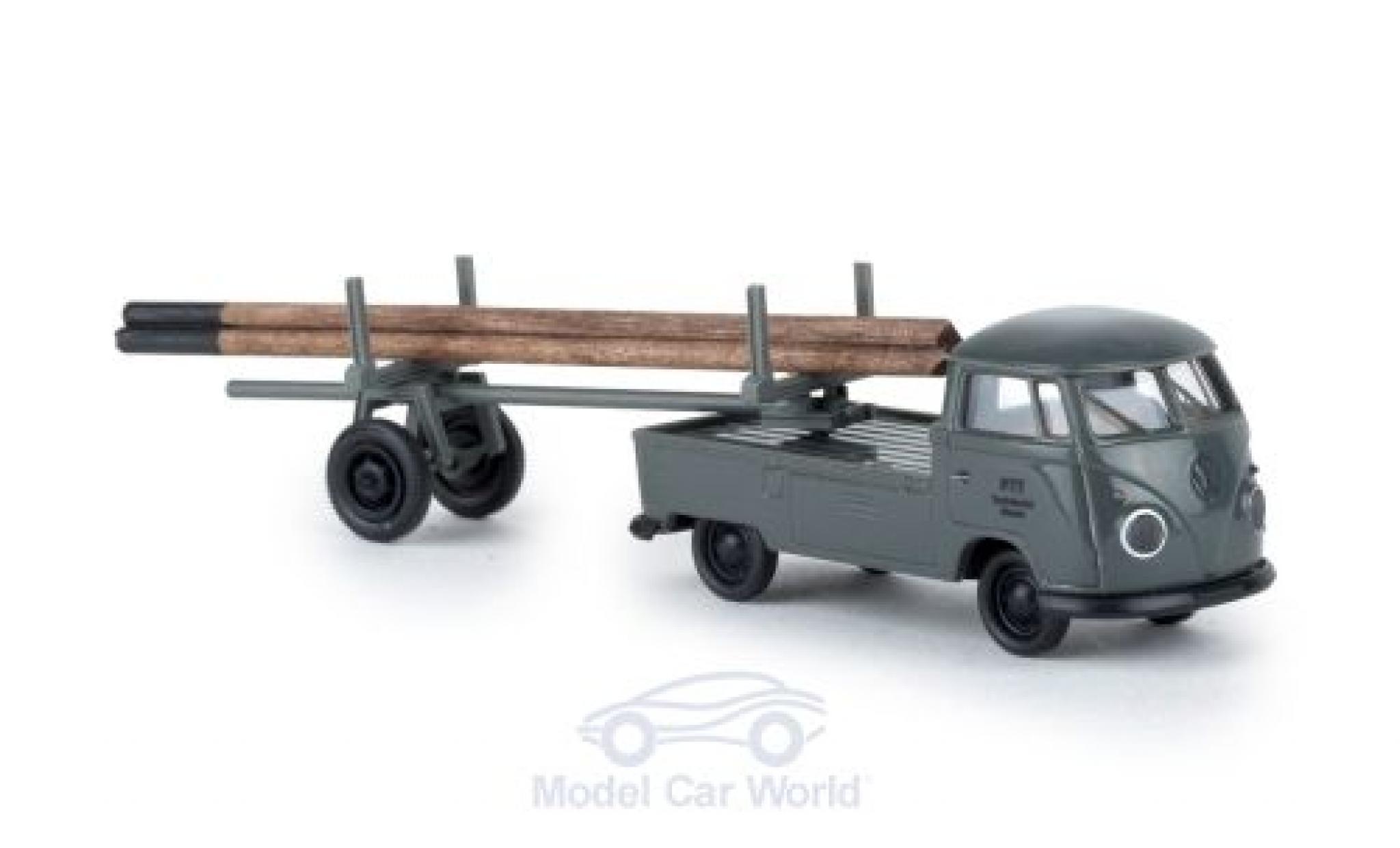 Volkswagen T1 B 1/87 Brekina b PTT mit beladenem Nachläufer