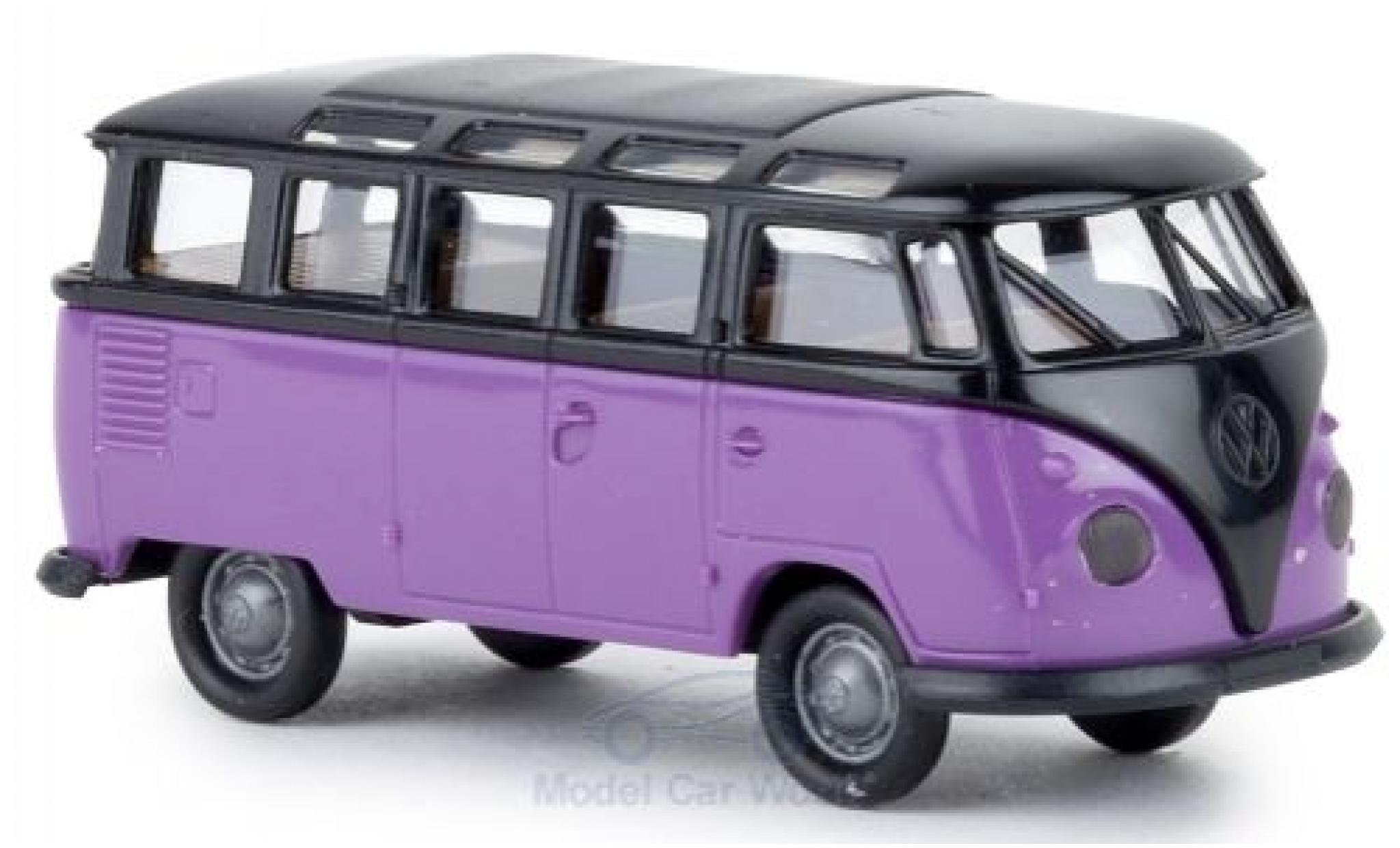 Volkswagen T1 1/87 Brekina b Samba black/lila