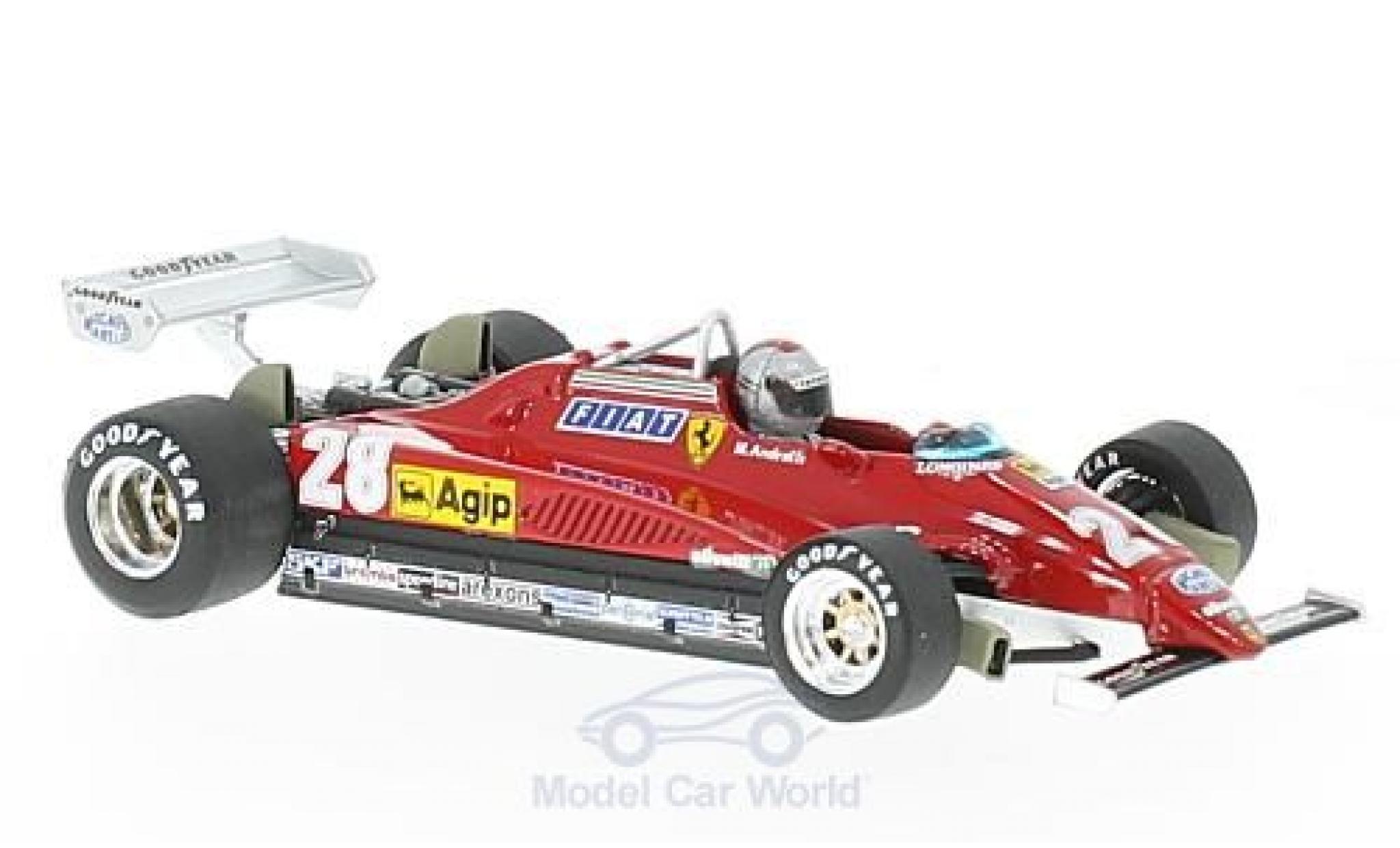 Ferrari 126 1/43 Brumm C2 turbo No.28 Formel 1 GP Italien 1982 mit Fahrerfigur M.Andretti