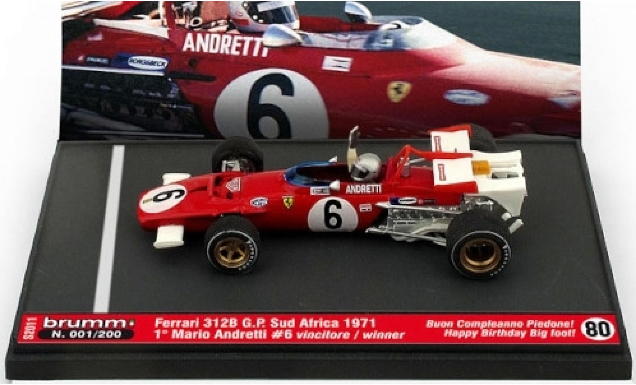 Ferrari 312 1/43 Brumm B No.6 Scuderia Formel 1 GP Südafrika 1971 avec figurine de conducteur in Emballage sp�cial M.Andretti