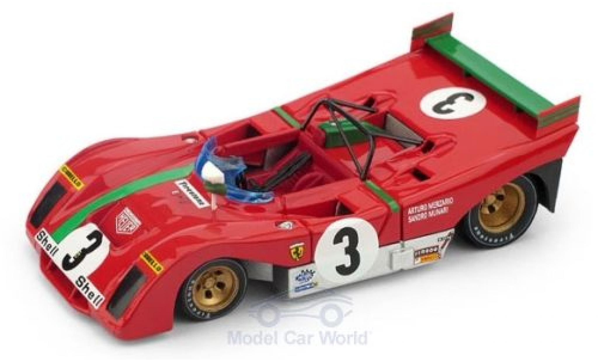 Ferrari 312 1/43 Brumm PB RHD No.3 Targa Florio 1972 A.Merzario/S.Munari