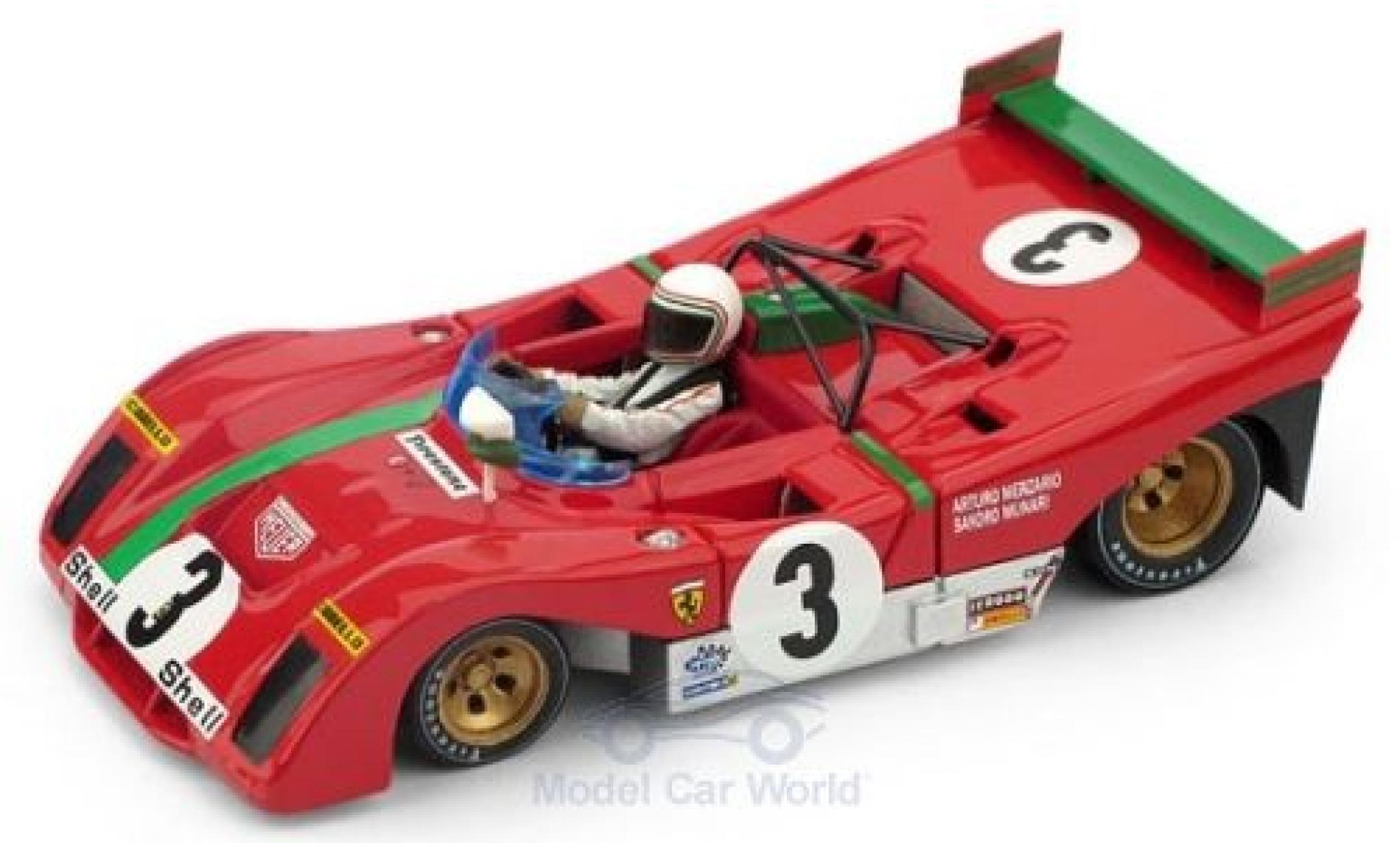 Ferrari 312 1/43 Brumm PB RHD No.3 Targa Florio 1972 S.Munari