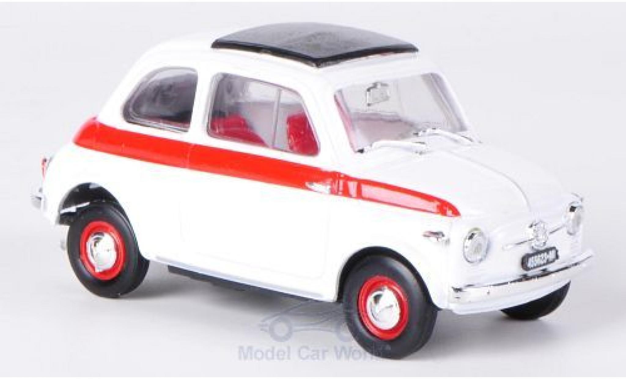 Fiat 500 1/43 Brumm Sport white/red 1959 Schiebedach geschlossen ohne Vitrine