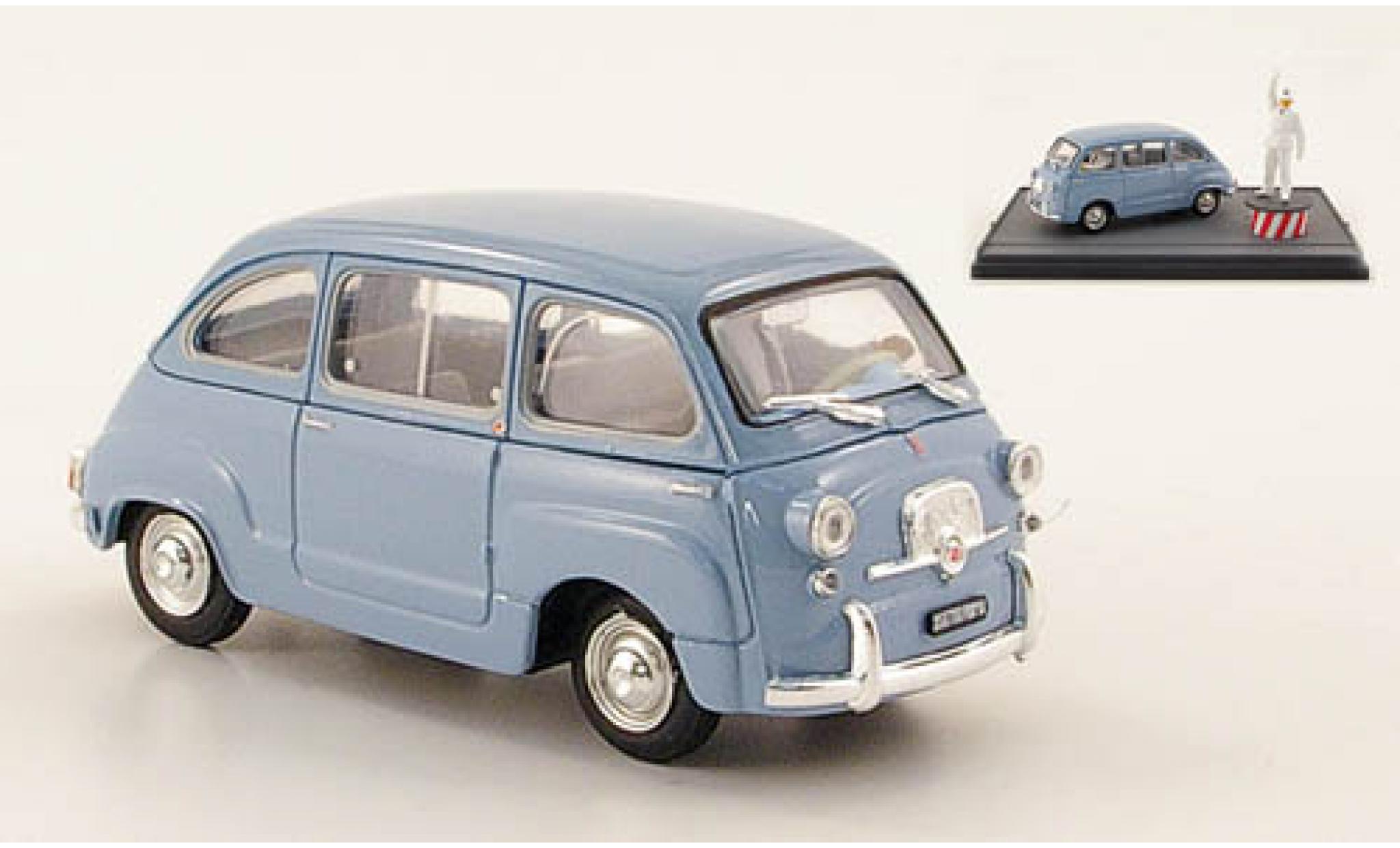 Fiat 600 1/43 Brumm D Multipla bleue 1960 Straßenszene Rom avec figurines