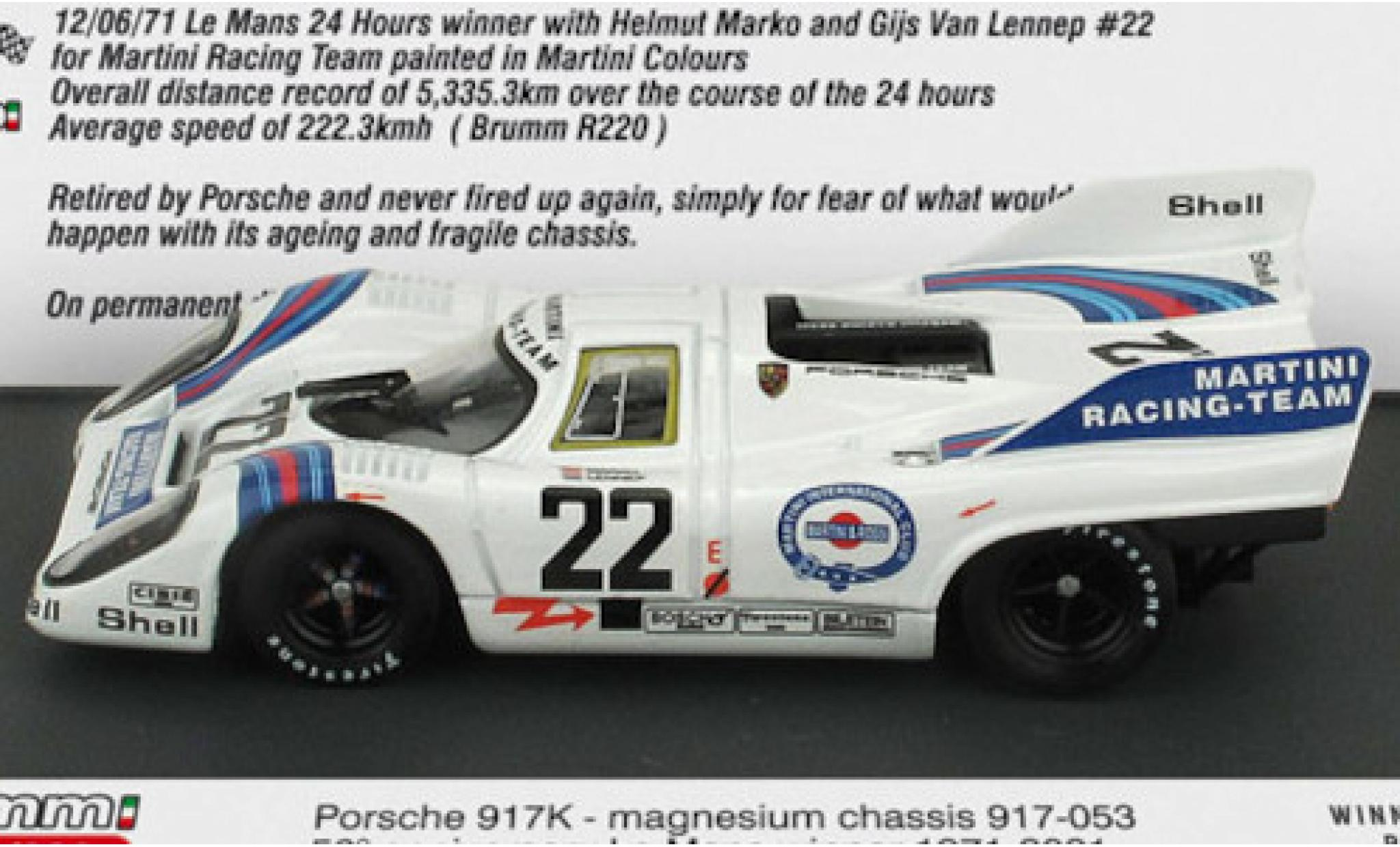 Porsche 917 1971 1/43 Brumm K RHD No.22 Martini Racing Team Martini 24h Le Mans in Sonderverpackung H.Marko/G.van Lennep