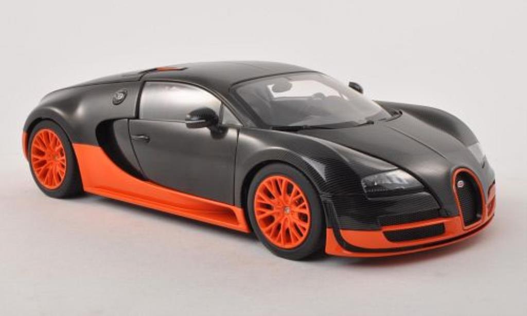 Bugatti Veyron 16.4 1/18 Autoart Super Sport noire/orange 2010 miniature