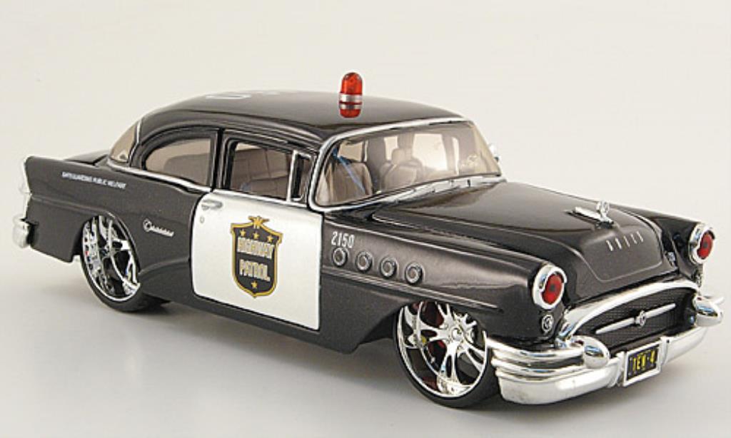 Buick Century 1/24 Maisto Highway Patrol noire/blanche (1:26) 1955 miniature