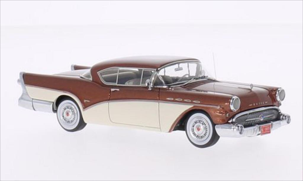 Buick Roadmaster 1/43 Neo Hardtop Coupe metallise marron/blanche 1957 miniature