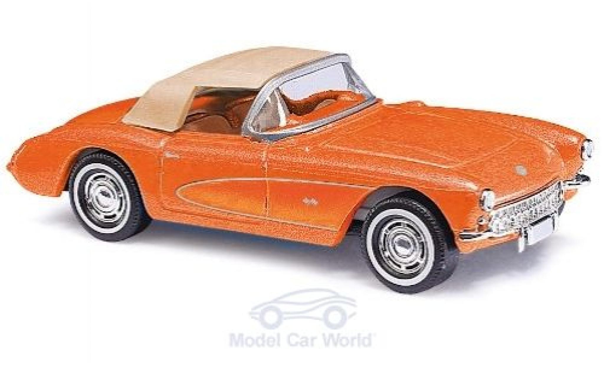 Chevrolet Corvette 1/87 Busch C1 Convertible metallise orange 1956 mit Softtop