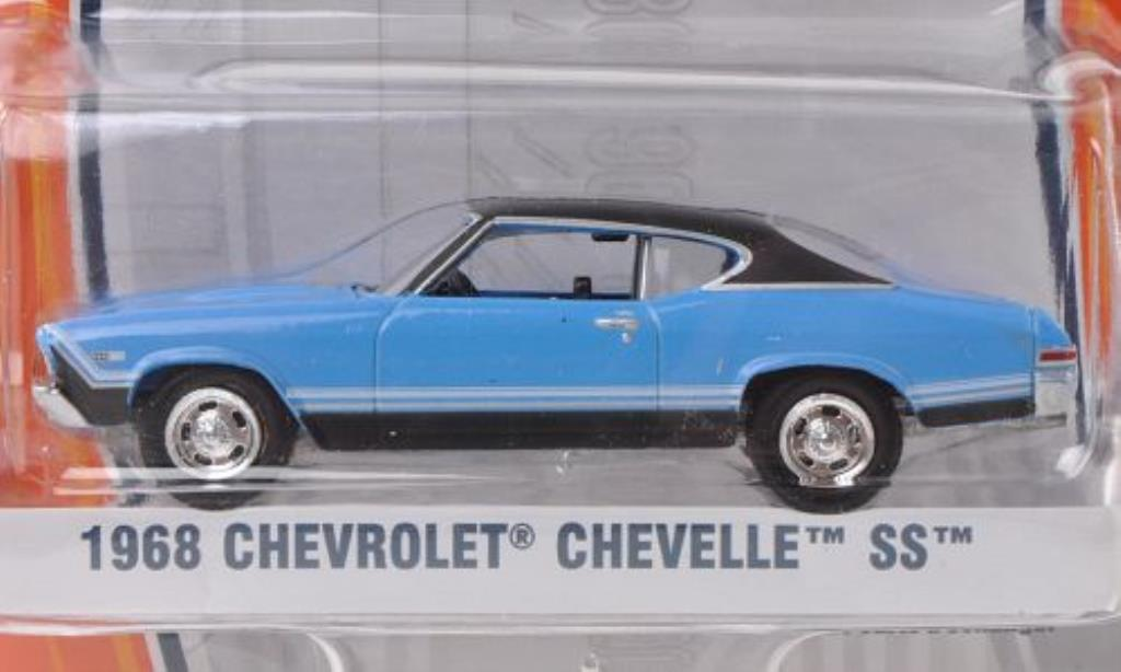 Chevrolet Chevelle 1/64 Greenlight SS azul/matt-negro 1968 miniatura