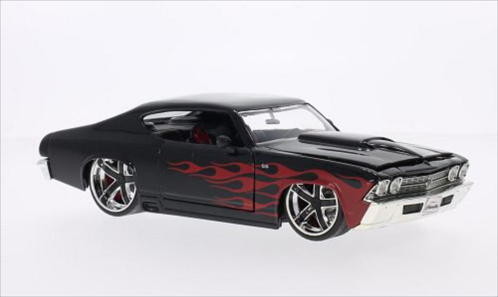 Chevrolet Chevelle 1/24 Jada Toys Toys SS Tuning noire/rouge 1969 miniature